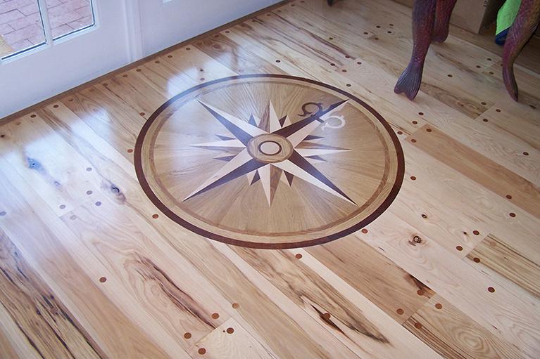 Hardwood Floor Inlays compass rose hardwood floor medallion 72 namaka style traditional entry Custom Inlay